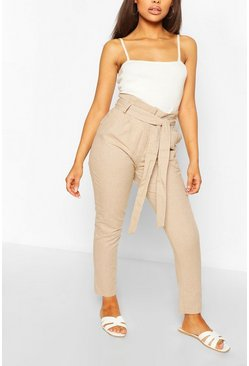 Stone beige Petite Tailored Linen Trouser