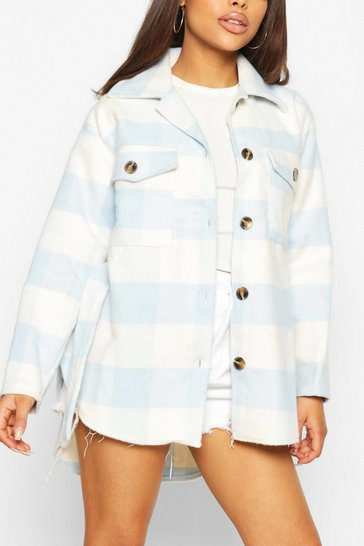 Blue Petite Check Belted Wool Look Shacket