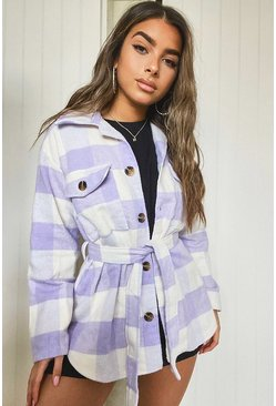 Lilac Petite Check Belted Wool Look Shirt Jacket