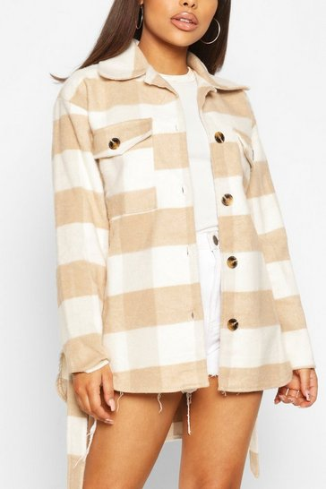 Stone beige Petite Check Belted Wool Look Shirt Jacket