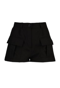 Black Petite Utility Pocket Shorts