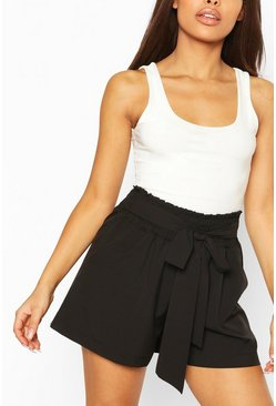 Black Petite Shirred Tie Front Shorts