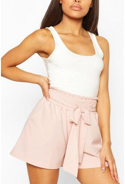 Rose pink Petite Shirred Tie Front Shorts