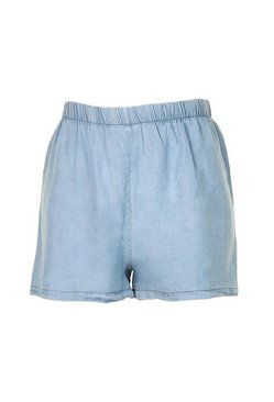 Blue Petite Chambray Flippy Shorts