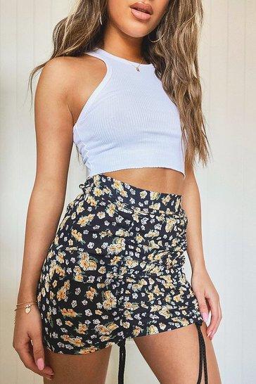 Black Petite Floral Ruched Mini Skirt
