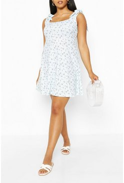 Blue Plus Square Neck Sundress