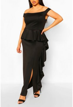 Black Plus Off The Shoulder Peplum Maxi Dress