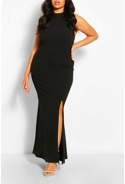 Black Plus Halterneck Thigh High Split Maxi Dress