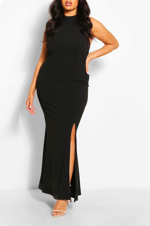 Plus Halterneck Thigh High Split Maxi Dress 8
