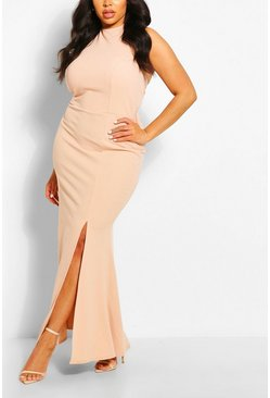 Blush pink Plus Halterneck Thigh High Split Maxi Dress