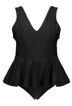 Black Plus Peplum Plunge Swimsuit