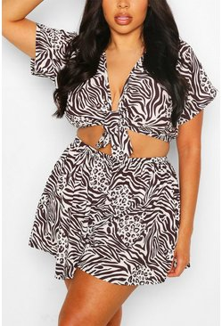 Black Plus Mixed Animal Beach Co-ord
