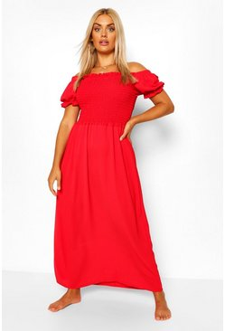 Red Plus Shirred Off The Shoulder Beach Maxi Dress