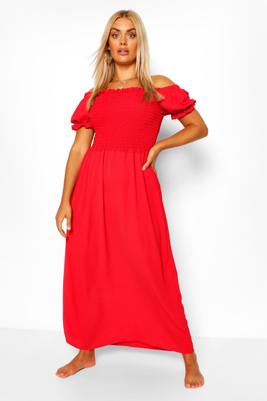 Plus Shirred Off The Shoulder Beach Maxi Dress 6