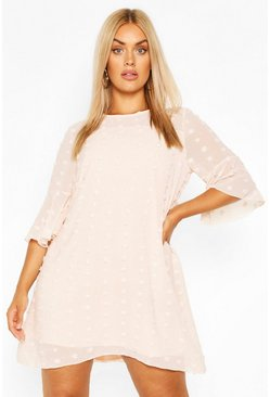 Blush pink Plus Dobby Chiffon Oversized Shift Dress