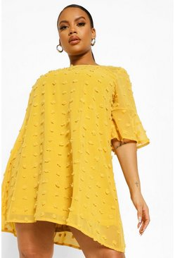 Mustard yellow Plus Dobby Chiffon Oversized Shift Dress
