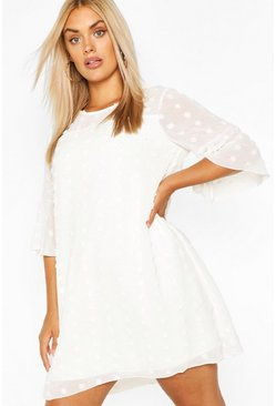 White Plus Dobby Chiffon Oversized Shift Dress