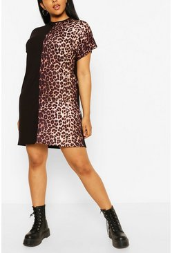 Black Plus Leopard Panel Longsleeve T-Shirt Dress