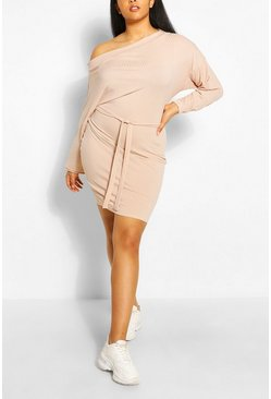 Stone beige Plus Soft Rib Slash Neck Mini Dress