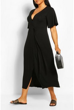 Black Plus Wrap Bodice Maxi Dress