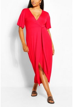 Red Plus Wrap Bodice Maxi Dress