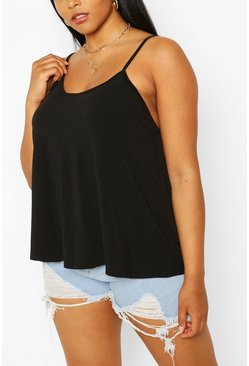 Black Plus Basic Swing Cami Tank Top Top