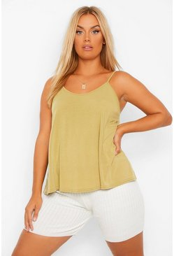 Khaki Plus Basic Swing Cami Vest Top