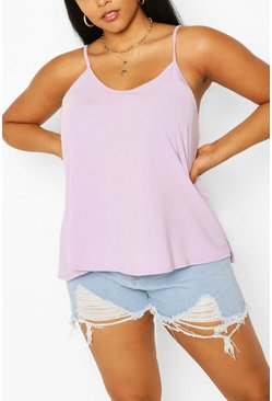 Lilac purple Plus Basic Swing Cami Vest Top