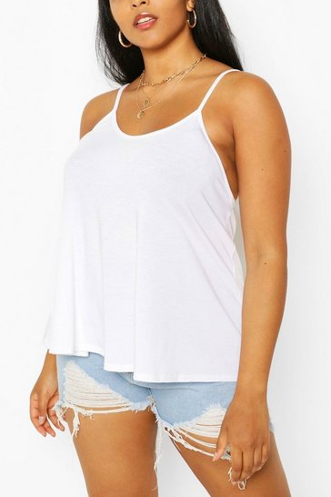 White Plus Recycled Basic Strappy Top