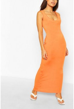 Oranje orange Petite Basic recyclede maxi-jurk
