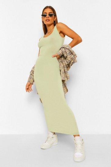 Sage green Petite Basic Maxi Dress