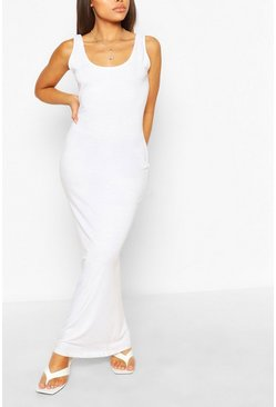 White Petite Basic Maxi Dress