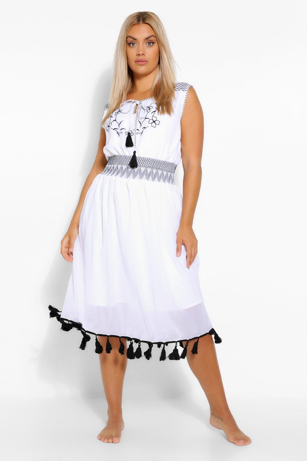 Plus Embroided Tassel Beach Dress 7