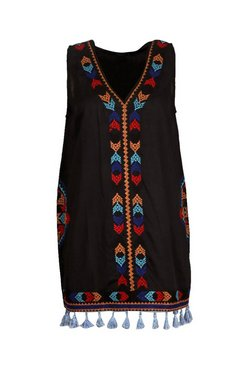Black Plus Embroidered Tassel Beach Dress