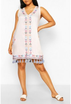 White Plus Embroidered Tassel Beach Dress