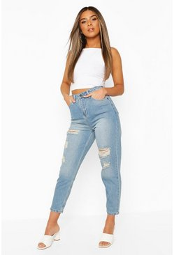Light blue blue Petite Distressed High Waisted Mom Jeans