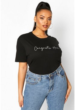 Black Plus Congrats Hun Slogan T-Shirt