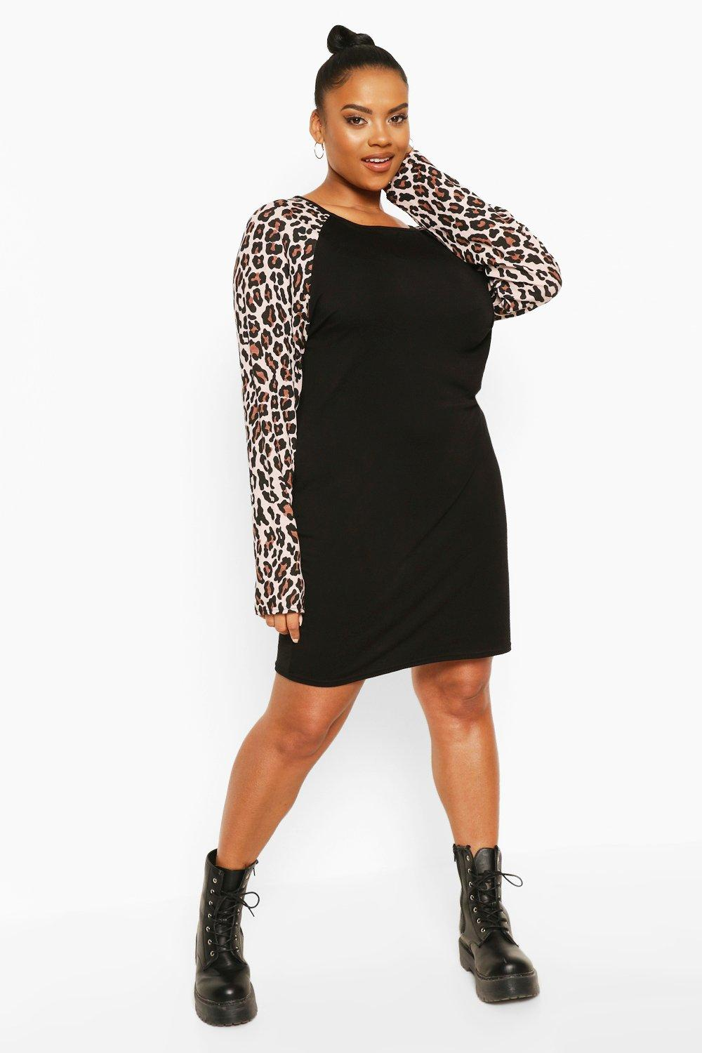 Plus Leopard Contrast Shift Dress 6