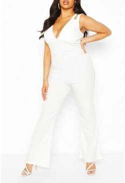 Ivory Plus Double Strap Plunge Jumpsuit