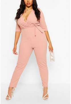 Blush pink Plus Wrap Belted Tailored Jumpsuit