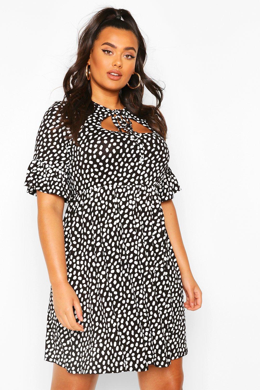 Plus Smudge Spot Ruffle Smock Dress 7