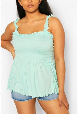 Mint green Plus Shirred Ruffle Strap Peplum Cami
