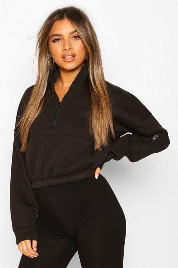 Black Petite Zip Front Pocket Cropped Sweatshirt
