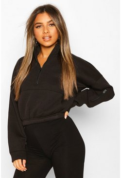 Black Petite Zip Front Pocket Detail Cropped Sweat