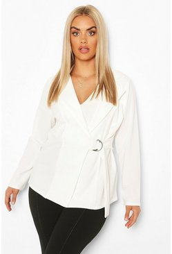 Ivory Plus Wrap D Ring Detail Blazer