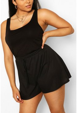 Black Plus Rib Drawstring Flippy Short