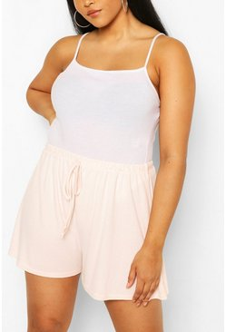 Blush pink Plus Rib Drawstring Flippy Short