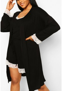 Black Plus Lace Trim Jersey Dressing Gown
