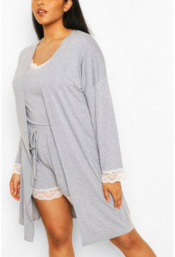 Grey Plus Lace Trim Jersey Dressing Gown