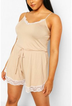 Stone beige Plus Lace Trim Jersey Short Set